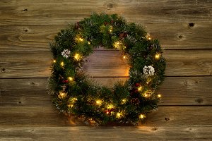 Christmas Wreath with white lights