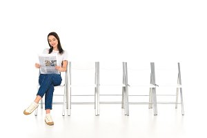 attractive girl sitting on chair wit
