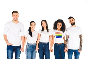 multiethnic group of young people ho