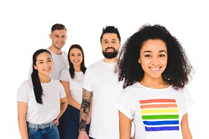 multiethnic group of young people st