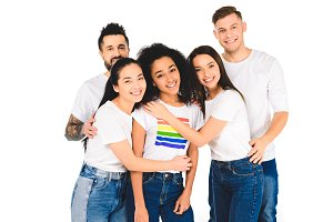 multiethnic group of young people hu