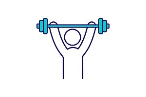 Man training with barbell color icon