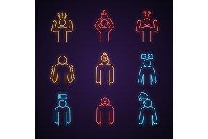 Emotional stress neon light icons