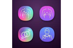 Gynecology app icons set