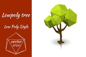 Green vector tree on white backgroun