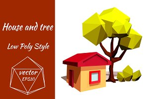 Little house and green tree. Vector