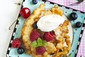 Funnel cakes with fresh berries