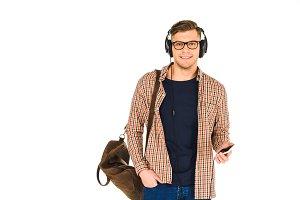 handsome man listening music in head