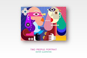 Two People vector illustration
