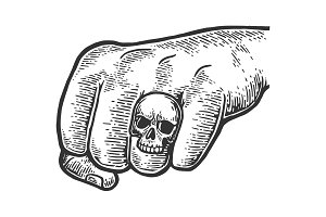 Fist with skull ring illustration