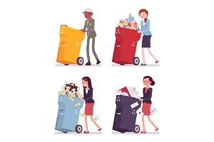 Women pushing trash bins