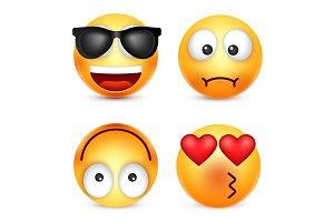 Smiley,emoticon set. Yellow face