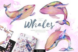 Whales. Watercolor clip art.