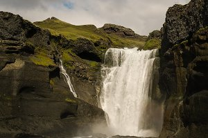 Ofaerufoss waterfall in Eldgja canyo