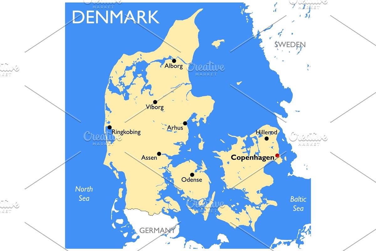 Denmark map ~ Illustrations ~ Creative Market on