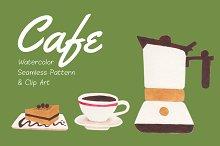 Cafe Pattern & Clip Art Pack