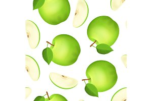Apple and Slice Seamless Pattern