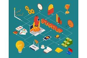 Blockchain Startup Set Isometric