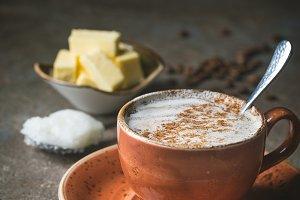 Bulletproof coffee, keto breakfast.