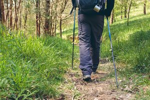 Male hiker doing trekking
