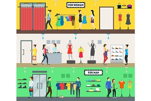 People in Clothing Store Set. Vector