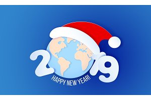2019 New Year design card on blue