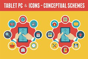 Tablet PC & Icons - Vector Concept