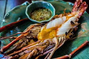 Grilled prawn with spicy sauce