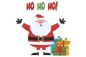 Santa Claus With Gifts Boxes