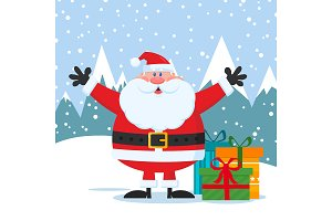 Jolly Santa Claus With Gifts Boxes