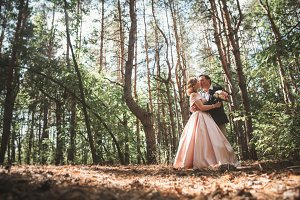 bride and groom on the background of