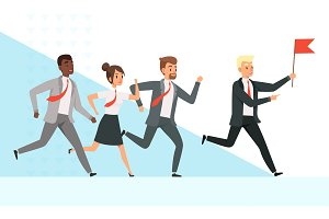 Business people running. Workers
