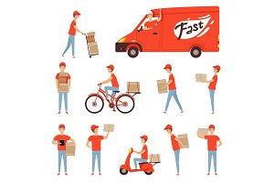 Pizza delivery characters. Van and