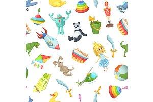 Vector cartoon children toys pattern