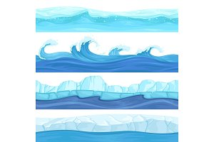 Seamless water waves. Liquid and ice