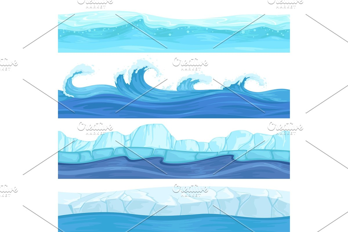 Seamless Water Waves Liquid And Ice