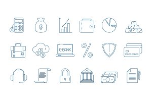 Business finance icons. Banking law
