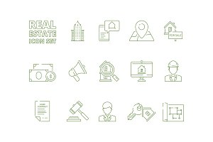 House for sale icons. Realtor rent