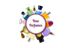 Vector perfume bottles under circle