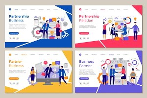 Business partners landing. Web pages