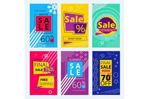 Trendy offers cards. Colorful sale