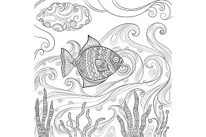 Ocean fish coloring. Fashion