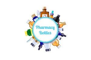 Vector pharmacy medicine bottles