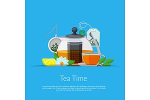 Vector cartoon tea kettle and cup in
