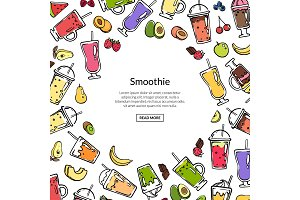 Vector doodle colored smoothie drink