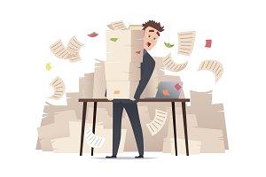 Workload businessman. Overwork