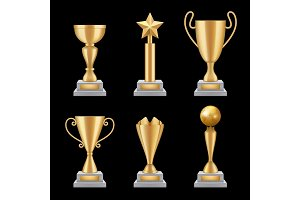 Award trophies realistic. Golden cup