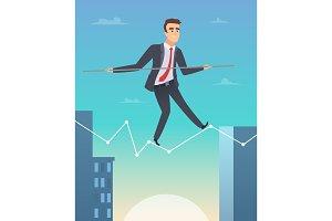 Businessman balancing. Concept