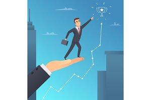 Business help. Investor hand assist