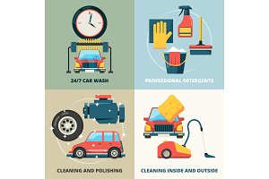 Car dry cleaning. Water wash service
